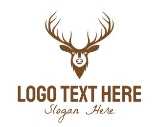 Forest Animal - Brown Elk Head logo design