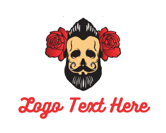 Tattoo - Beard Man Flower logo design