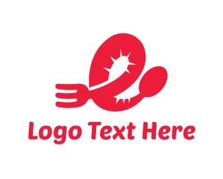 Cutlery - Red Cutlery logo design