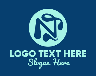 Lettering - Tadpole Letter N logo design