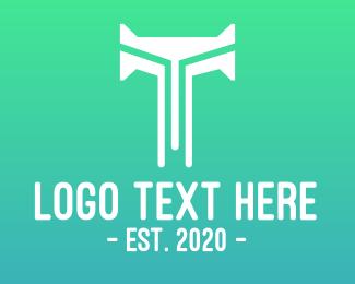 Bt - Modern Letter T Tech logo design