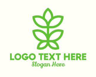 Stalk - Green Plant Bud Monoline logo design
