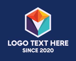 Geometrical - Multicolor Geometric Cube logo design