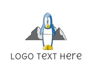 Antarctica - Blue Penguin logo design