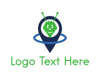 Extraterrestrial - Alien Pin  logo design