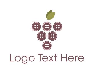 Seamstress - Button Grapes logo design