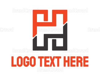 Blocks - Orange Brown Brick H logo design