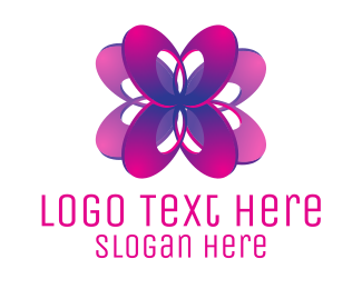 Purple And Pink - Ellipse Flower logo design