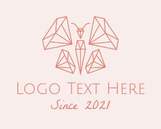 Gem - Butterfly Diamond Gem logo design