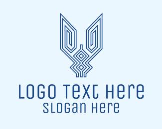 Shield - Blue Crest Outline logo design