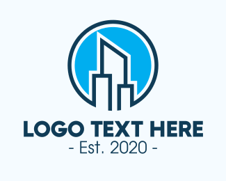 Architecture - Blue Skyscraper Buildings logo design