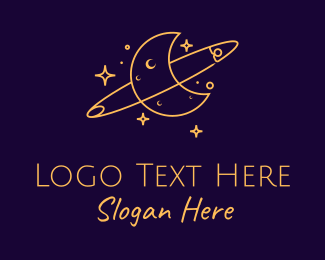 Spirituality - Yellow Moon Orbit  logo design