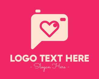 Cameraman - Pink Camera Photography Love Heart logo design