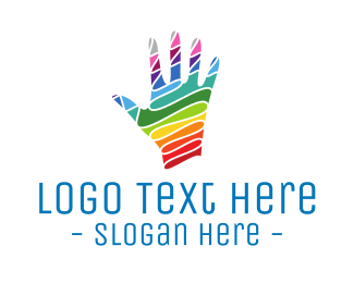 Hand Drawn - Colorful Hand logo design