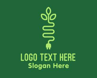 Plug - Green Eco Plug logo design