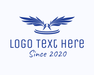 Aircraft - Blue Feathers  logo design
