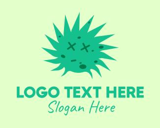 Alert - Green Dead Face Virus logo design