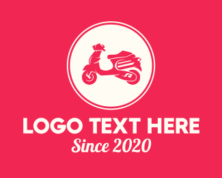 Riding - Red Scooter Moped logo design