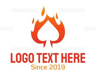 Fortune - Flaming Spade Casino logo design