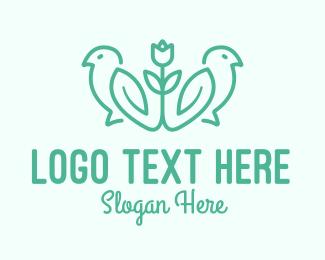 Line Art - Floral Bird Line Art logo design