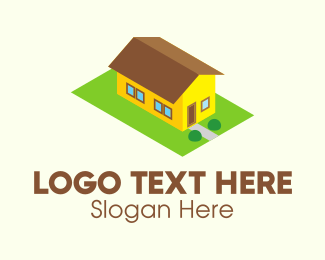 Bungalow - Yellow Isometric House  logo design