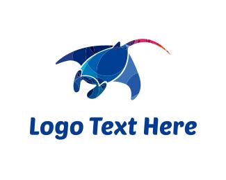 Ray - Blue Stingray logo design