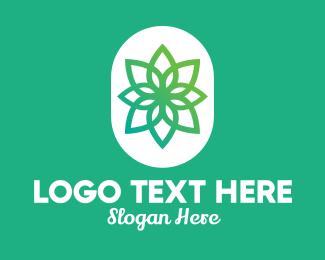 Massage Therapy - Green Lotus Flower  logo design