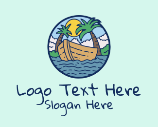 Getaway - Tropical Row Boat logo design