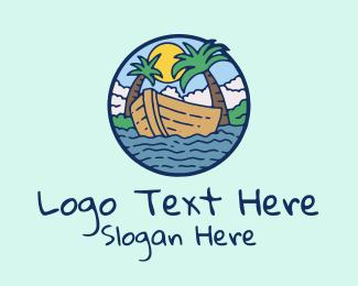 Tropical - Tropical Row Boat logo design