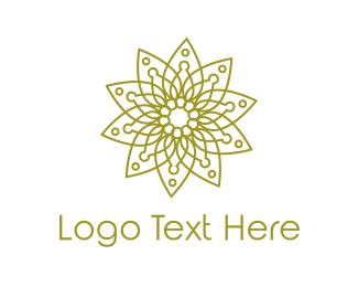 Henna - Modern Spa Leaf Outline logo design