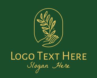 Green And Yellow - Organic Seedling Garden Hand  logo design