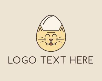 Pussy - Cat Face Egg logo design