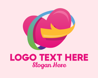 Dating Forum - Colorful Heart Hug  logo design