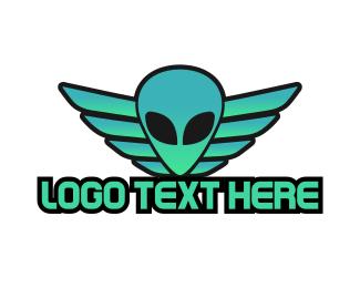 Green Alien - Green Winged Alien logo design