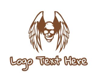 Outlaw - Brown Wings Skull logo design