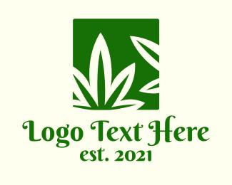 Weed - Green Cannabis Herb logo design