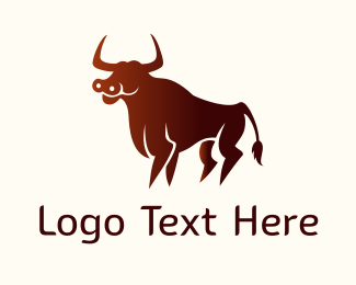 Cattle - Wild Red Bull logo design