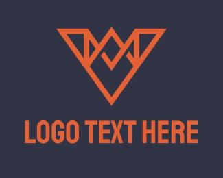 V - Orange Crown Letter V logo design