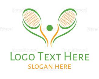 Tennis - Green Tennis Racket logo design