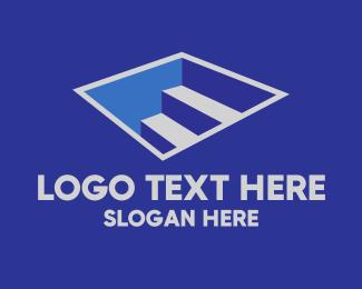 Ladder - Letter E Staircase logo design