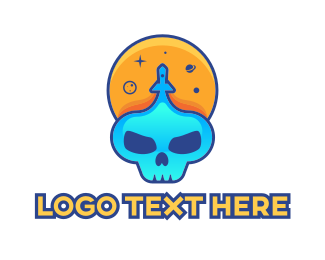 Game - Space Gaming Skull logo design