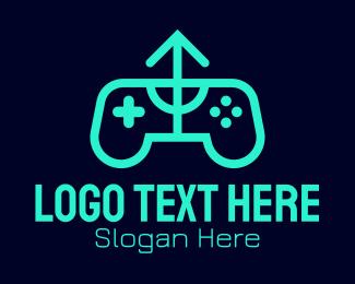 Controller Pad - Green Gamepad Arrow  logo design
