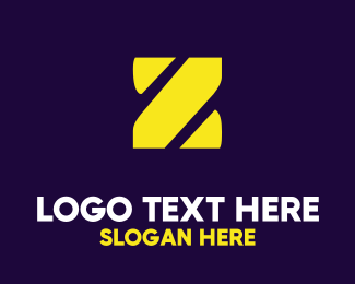 Lettermark Z - Stencil Yellow Z logo design