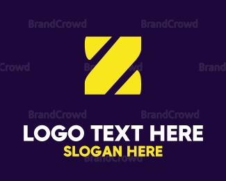 Purple And Yellow - Stencil Yellow Z logo design