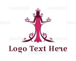 Human Tree - Fashion Flora Princess logo design