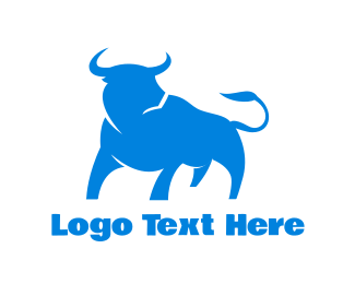 El Matador - Blue Looking Bull logo design