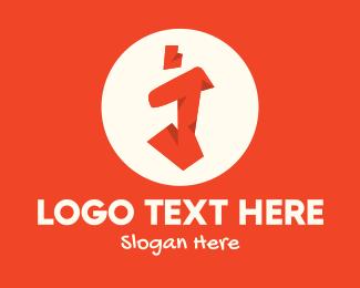 Skate - Orange Graffiti Art Letter I logo design