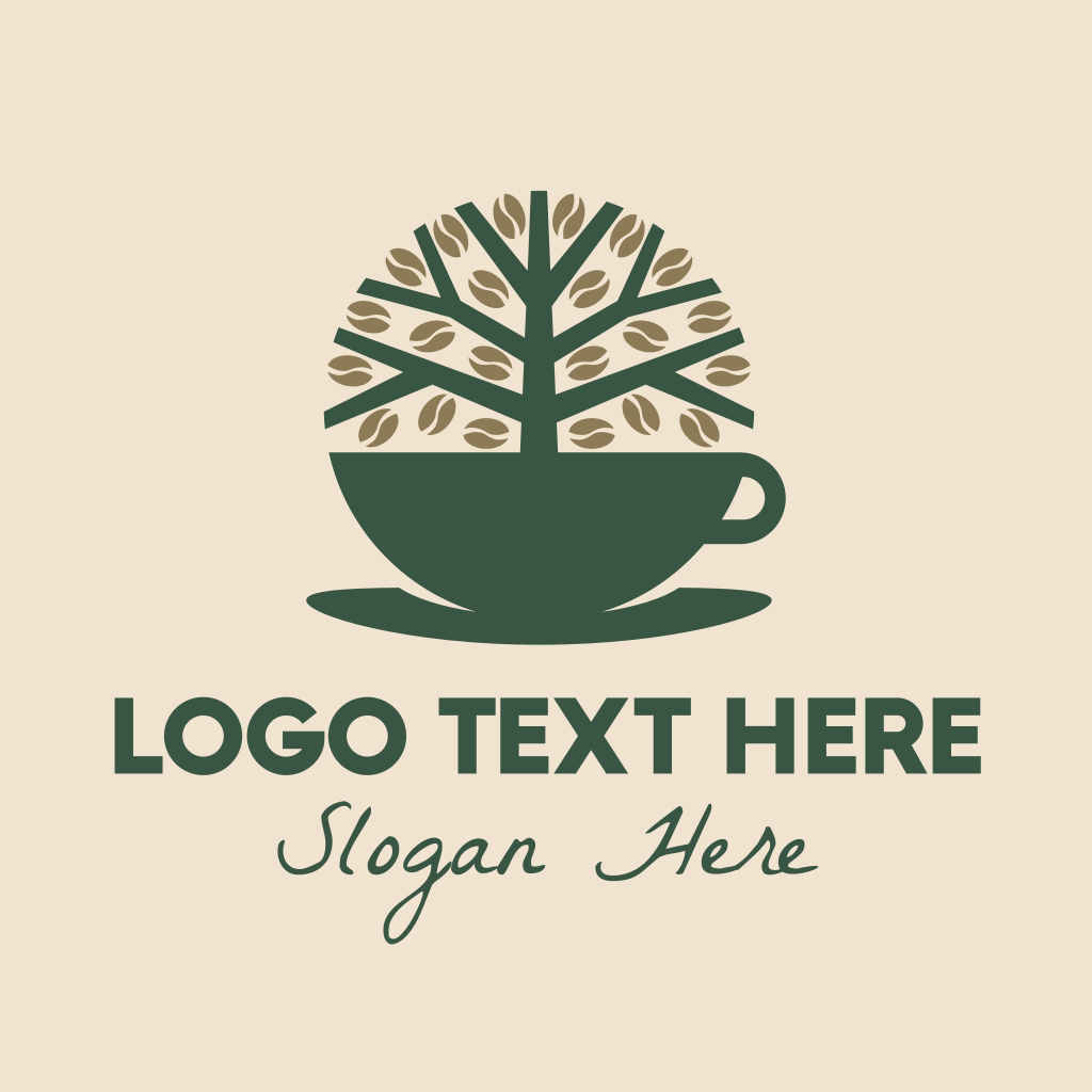 Natural Brand Logo Badge Design: Green Coffee Cup Tree Logo