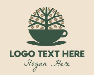 Produce - Green Coffee Cup Tree logo design