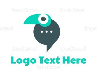 Text Message - Parrot Messaging App logo design